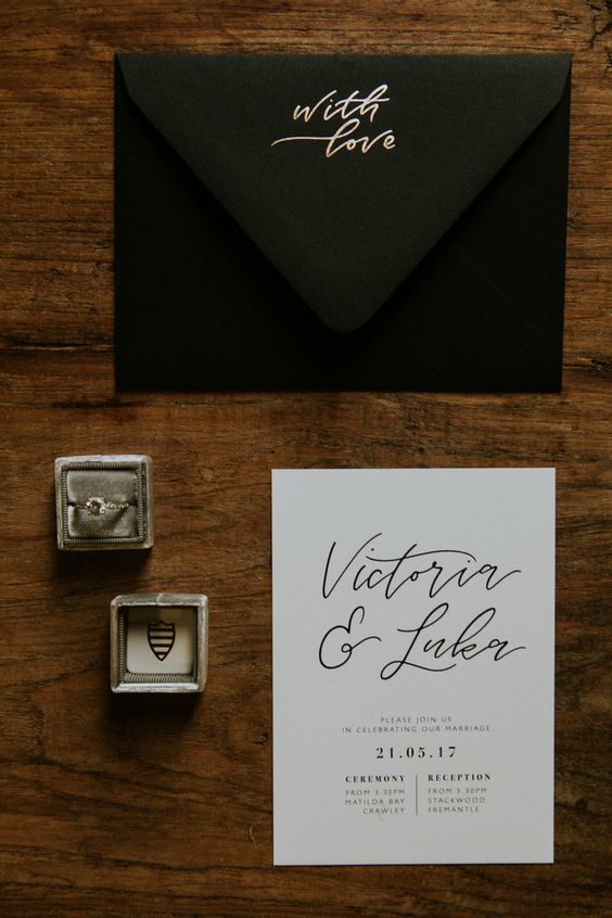 """I love the black envelope and """"with love """" written on the back flap"""