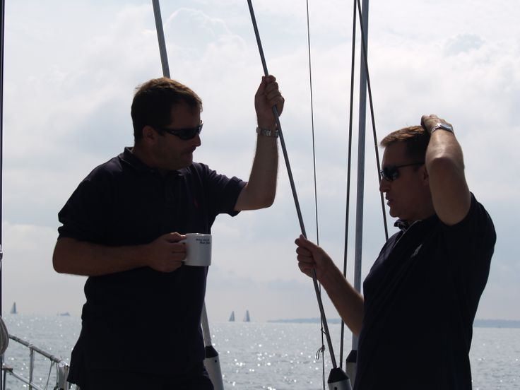 clients making most of the valuable face to face time on board the luxury 52ft sailing yacht at Cowes week