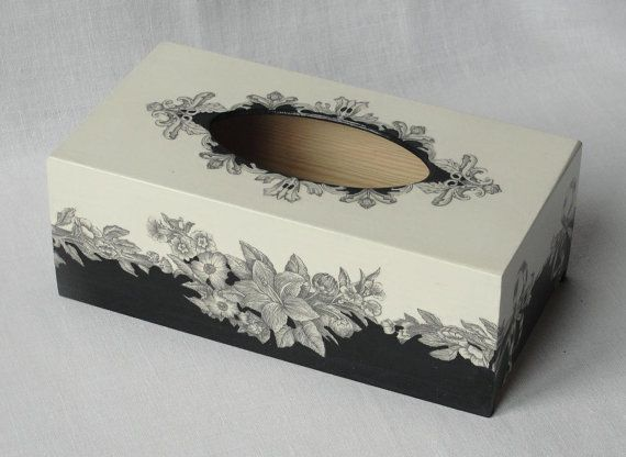 Tissue Box Cover with floral motif. Decoupage in black and white. Black and white ornament