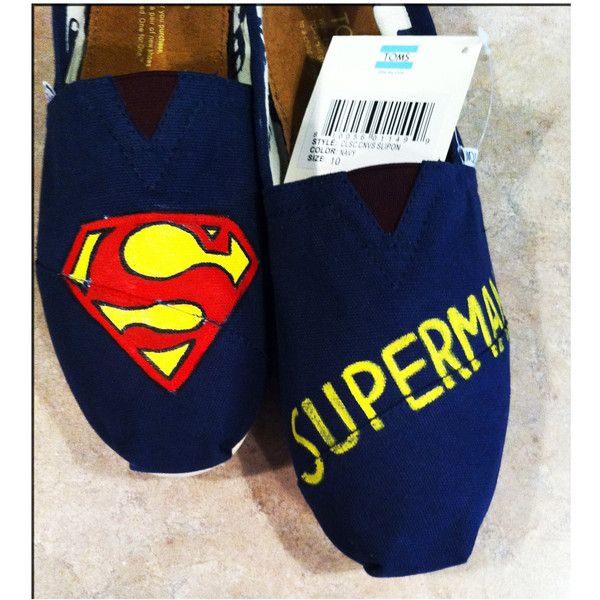 Superman Custom Toms Shoes (140 AUD) ❤ liked on Polyvore featuring shoes, toms, superman, flats and chaussures