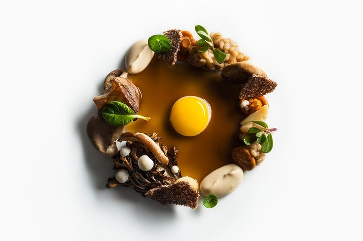 Roasted royal trumpet mushrooms, roasted hen of the woods mushrooms, pickled chanterelle mushrooms, pickled enoki mushrooms, glazed shitake mushrooms, glazed oyster mushrooms, pine nut purée, cooked barley, teff chip, nasturtium, purslane, and fried quail egg with mushroom sauce by chef Daniel Humm of Eleven Madison Park, NYC. ©️️ Francesco Tonelli - See more at: http://theartofplating.com/editorial/francesco-tonelli-chef-to-photographer/#sthash.Kpy8vXb1.dpuf