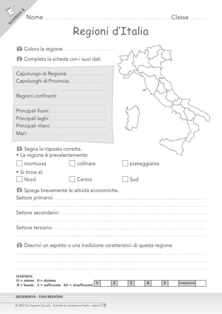scheda analisi di una regione italiana geografia - Cerca con Google