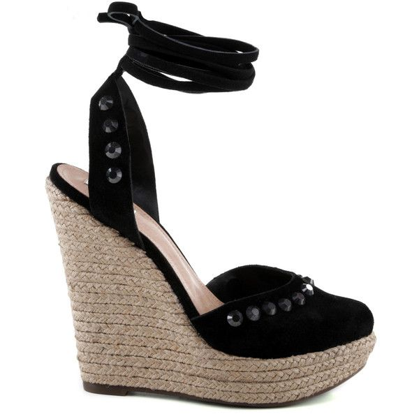ESPADRILLE HIGH HEEL DAILY BLACK ❤ liked on Polyvore featuring shoes, sandals, espadrille sandals, black shoes, black high heel shoes, high heel sandals and high heel shoes