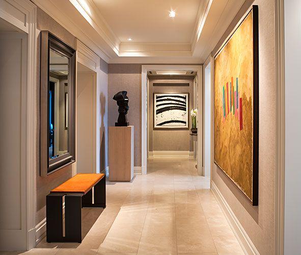 Powell & Bonnel Design Inc. Exquisite hallway design. Rich color palette and textures.