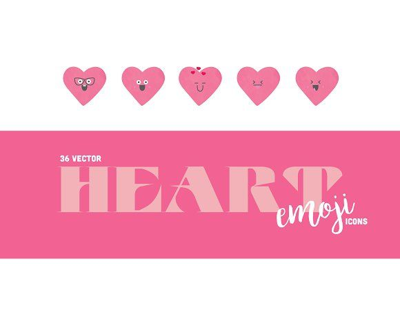 Pink Heart Emoji Icons by KaraJoann on @creativemarket