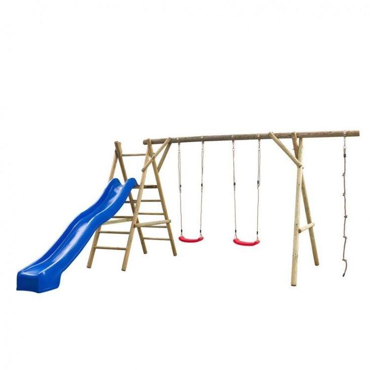 Kids Playhouse Set Ladder Slide Wooden Playground Children Blue Swing Rope Home #KidsPlayhouseSet