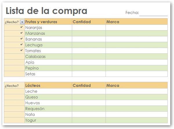Lista del Supermercado en tu Excel. Super practico. (Para aquellos que aman hacer listas a mano)