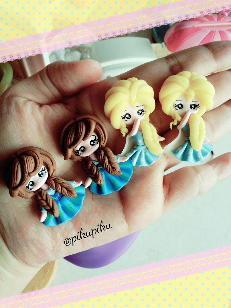 Mini claydoll elsa &  anna for center bow