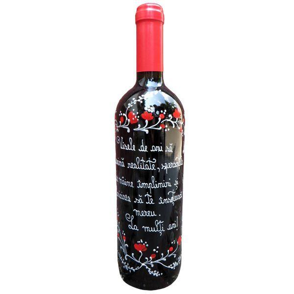 Sticla vin cu mesaj de aniversare