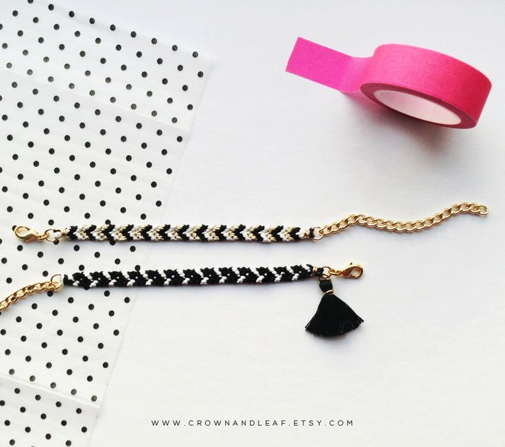 Set of Two / Black and White / Gold Chain Friendship Bracelet / Woven Bracelet / Chevron Bracelet / Gold Chain Bracelet / Tassel Bracelet by crownandleaf on Etsy https://www.etsy.com/listing/211961656/set-of-two-black-and-white-gold-chain