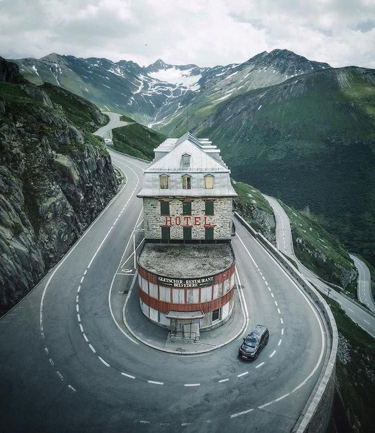 Abandoned Hotel Belvédère in Furka pass, Switzerland