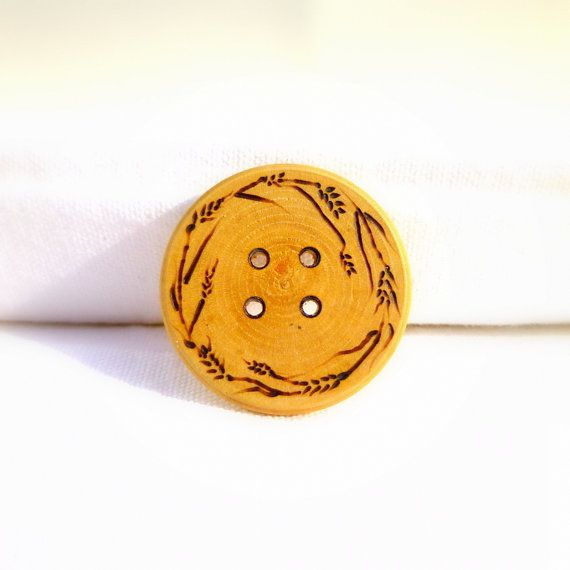 This listing is for 2 of these beautiful, hand burned buttons with a design inspired by fields of grain. Consider using these one of a kind