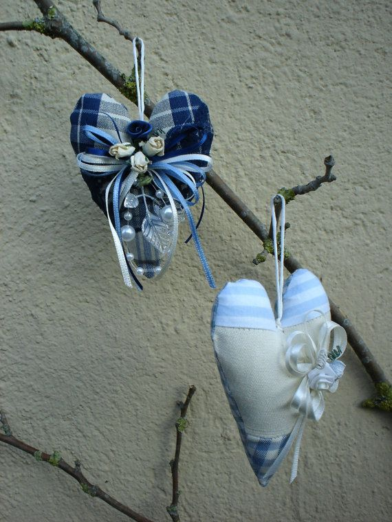 Valentine's day ornament decorative  handmade fabric blue  hearts shabby chic,home decor, gift