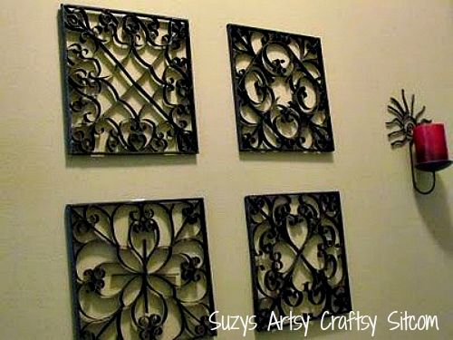 faux metal wall art created from recycled tp tubes