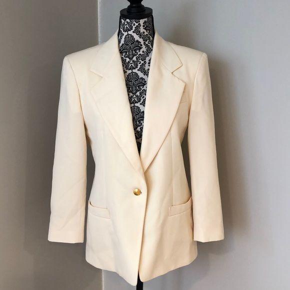 Vintage Austin Reed Cream Wool Blazer Jacket Sz 6 Blazer Jacket Vintage Austin Blazer