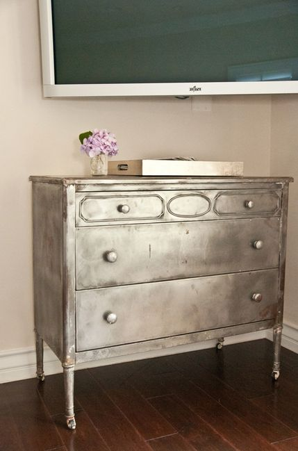 diy metallic furniture. silver metallic dresser diy furniture