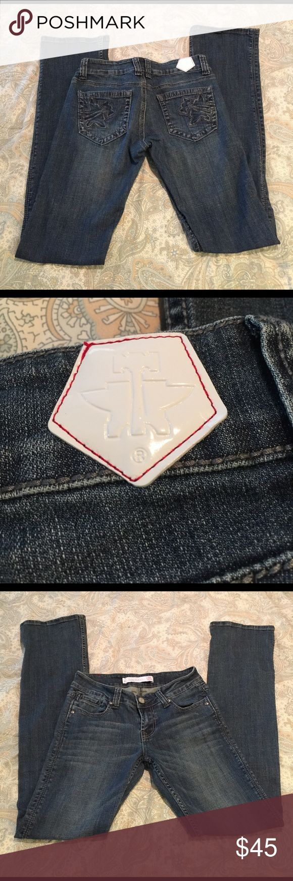 "NWOT Tin Haul Logo Jeans NWOT Tin Haul Logo Jeans. Love the look of these jeans but they are too small for me. They have only been tried on and never worn. Inseam is 35"". tin haul Jeans Boot Cut"