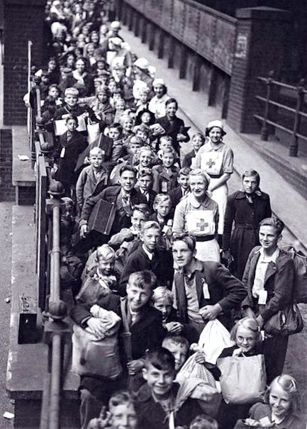 Lines of children await evacuation from London. Paddington Station.