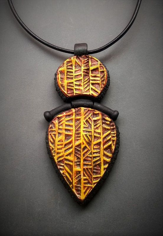 Hinged polymer clay pendant by Shelley Atwood