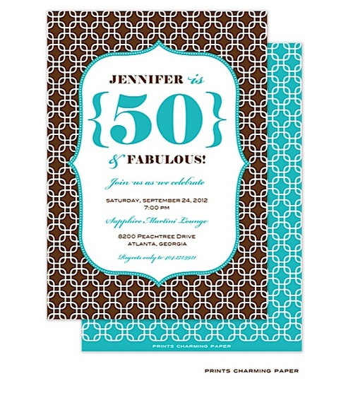 brown and blue chain link invitation fiftieth