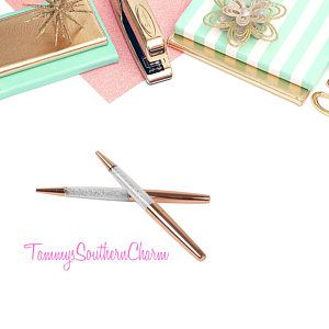 ROSE GOLD PEN - Diamond Crystal Ballpoint Pens - rose gold pens, rose gold, writing pens, crystal pens, planner accessories