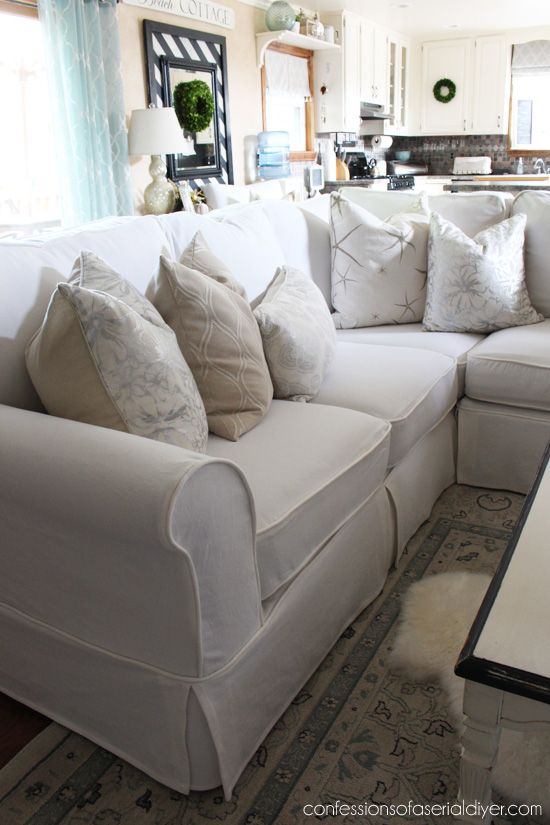 Sectional Slip Cover Reveal For The Home Slipcovers Diy Couch