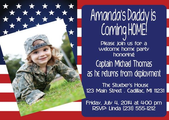Welcome Home Soldier Invitation - Army Hero's Welcome Home Party Invitation - Photo Invite