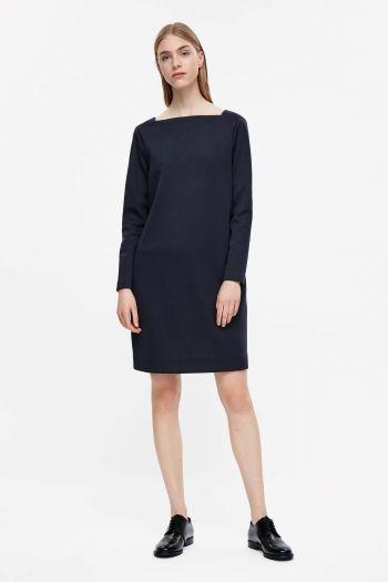 COS image 1 of Dress with v-back in Blue Reddish Dark
