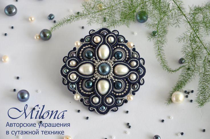 Soutache brooch «Winter Evening» by MilonaSoutache on Etsy