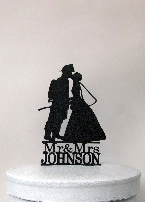 Personalized Wedding Cake Topper - Firefighter and Bride Silhouette with Mr & Mrs name by Plasticsmith on Etsy https://www.etsy.com/listing/240052337/personalized-wedding-cake-topper