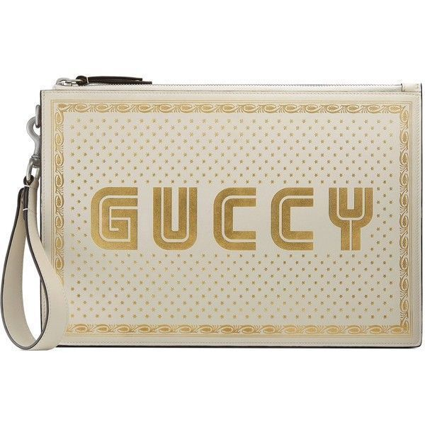Gucci Guccy Print Leather Pouch (€865) ❤ liked on Polyvore featuring men's fashion, men's bags, accessories, wallets & small accessories, white, women, mens pouch bag, gucci mens bag, mens luggage bag and mens leather pouch bag #mensaccessoriesbags #mensaccessorieswallet