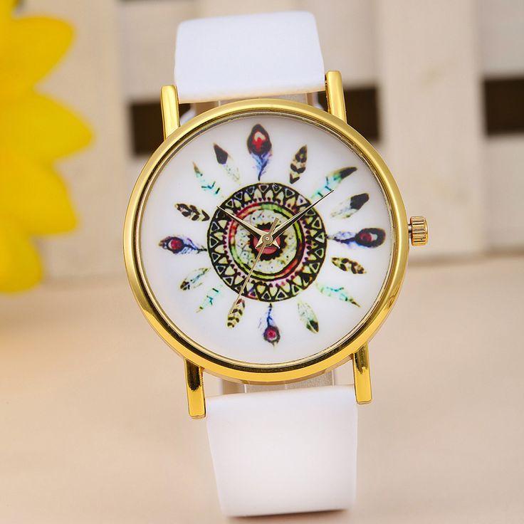 feather watch, leather watch, bracelet watch, vintage watch, retro watch, woman watch, lady watch, girl watch, unisex watch, AP00025