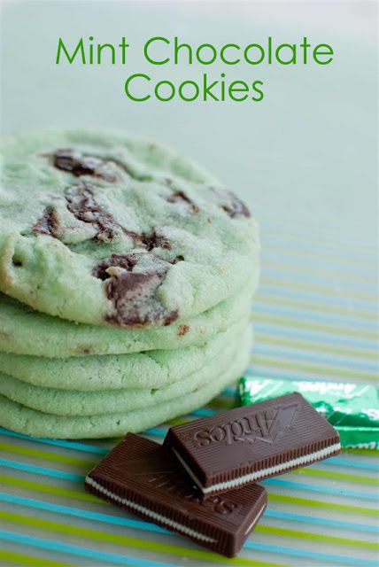 2 3/4 cup flour 1 tsp baking soda 1/2 tsp baking powder 1/2 tsp salt 1 cup unsalted butter (at room temperature) 1 1/2 cup sugar 1 egg 1 tsp mint extract 15-20 drops green food coloring 1 bag of Andes mints (chopped). 375 degrees