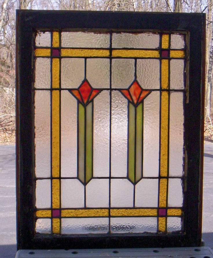 Antique Stained Leaded Glass Windows C1918