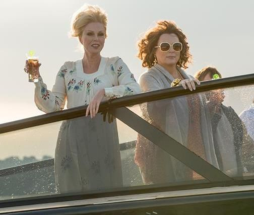 """The trailer for """"Absolutely Fabulous: The Movie"""" has gone live, and features best friends Patsy and Edina romping around the French Riviera with two very young male companions."""