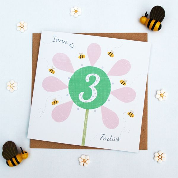 flower birthday card personalised by Doodlebump