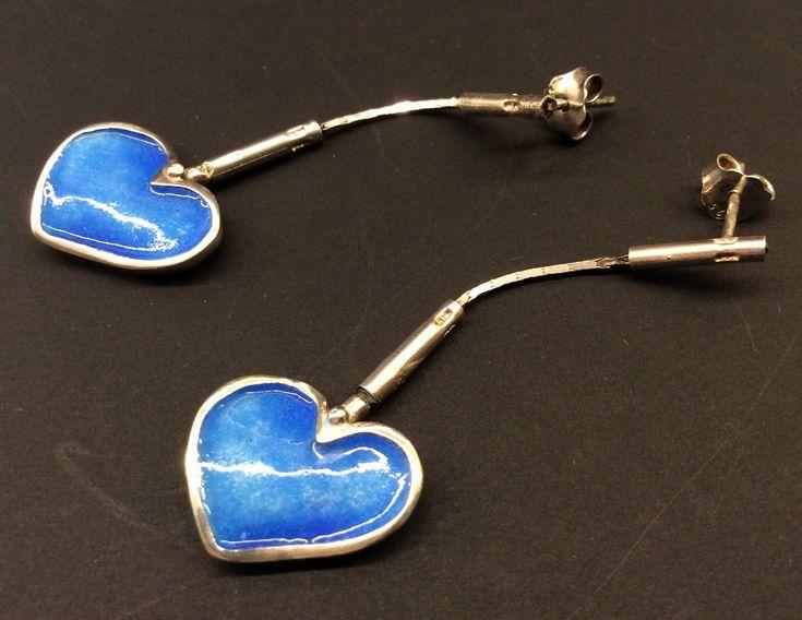 Blue silver enamel heart earrings
