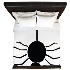 Halloween Spider hanging by a Web King Duvet