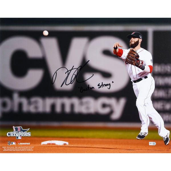 "Dustin Pedroia Boston Red Sox Fanatics Authentic Autographed 16"" x 20"" 2013 World Series Champions Throwing Photograph with Boston Strong Inscription - $279.99"