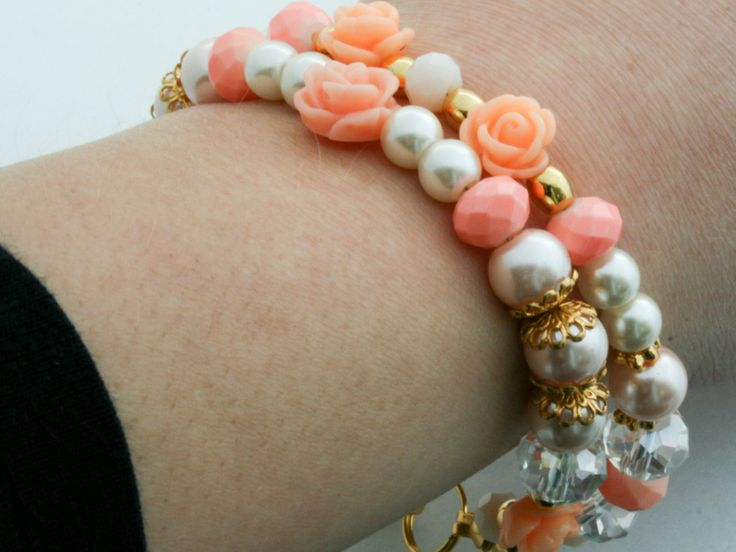 Peach, light pink, salmon, ivory and nude bracelet door Fedaro op Etsy