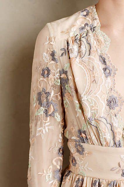 Tristana Embroidered Silk Dress - anthropologie.com