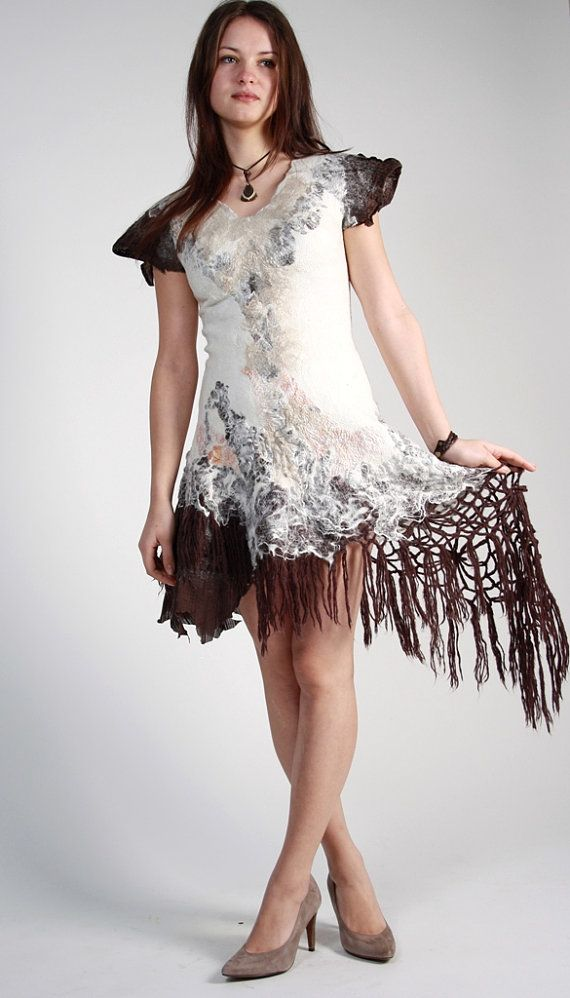 Felted brown dress White beige nuno dress Boho by hedgiefelt