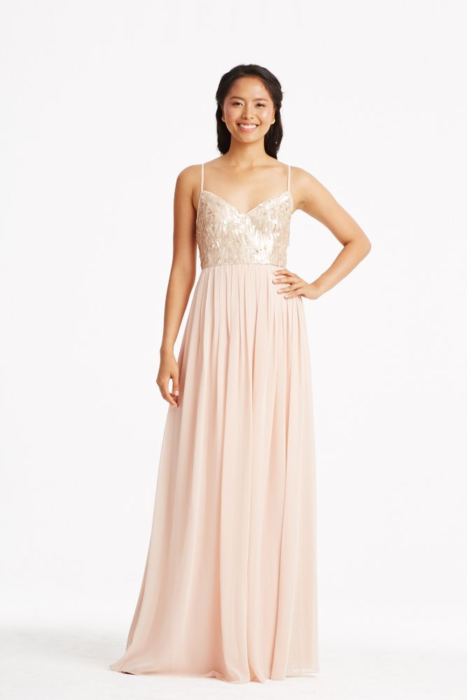 Donna Morgan Collection sequin gowns // Blush & pink bridesmaids dresses // Coco in Rose Quartz