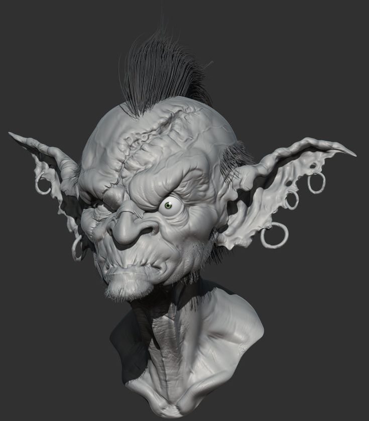 """Goblin bust I made thanks to Alexandr Menshikov awsome illustration """"goblin"""". Rendered with Zbrush and Photoshop."""