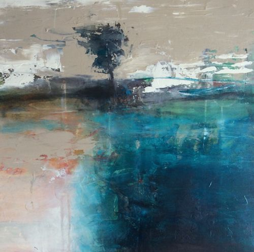 """Abstract Landscape Painting """"Remaining Steadfast"""" by Intuitive Artist Joan Fullerton 
