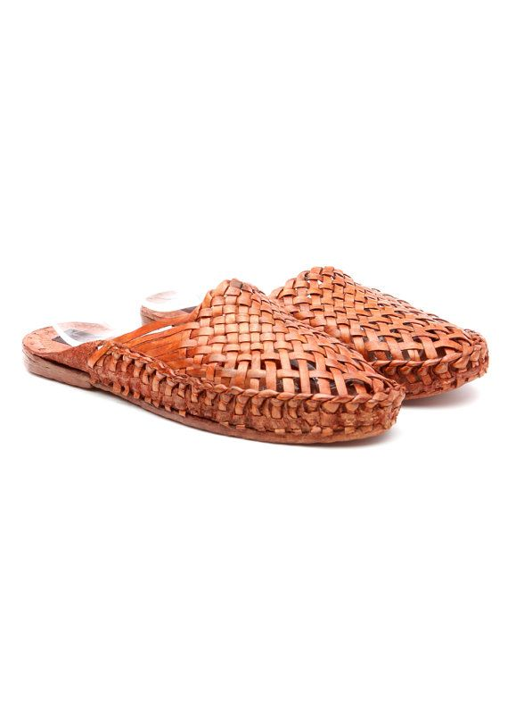 Vintage Leather Shoes Camel Moroccan Flats Mules woven by SHAIZY, $89.99