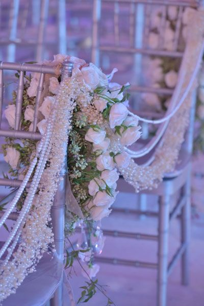 pearl stands ceremony aisle decor ~  #wedding #aisle decor ideas - spotted by www.huntshamcourt.co.uk