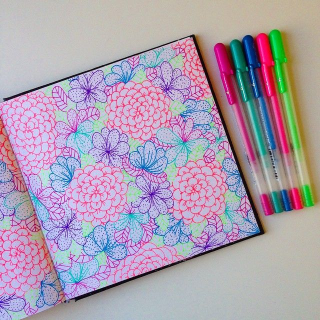 Making floral motifs with Gelly Roll pens is one of Lisa Congdon's favorite things to do,