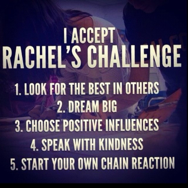 Rachel's Challenge will be coming to our school today. It's amazing to see how much of a legacy Rachel Scott has left and how many lives the organization is helping to save. Accept the challenge!