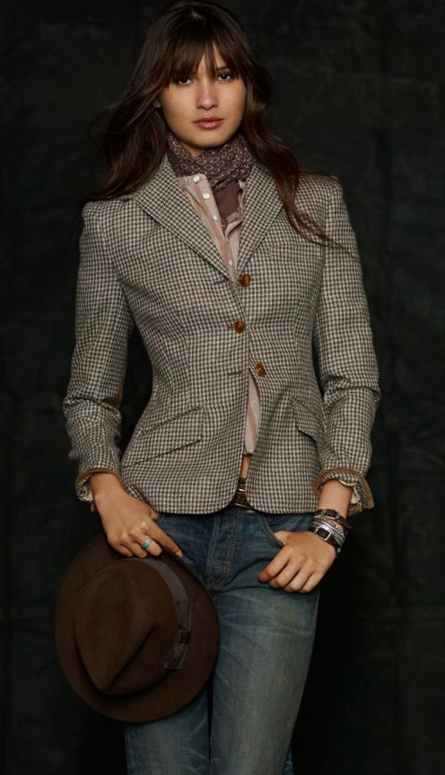 Tailored jacket with shirt and tied scarf by Ralph Lauren